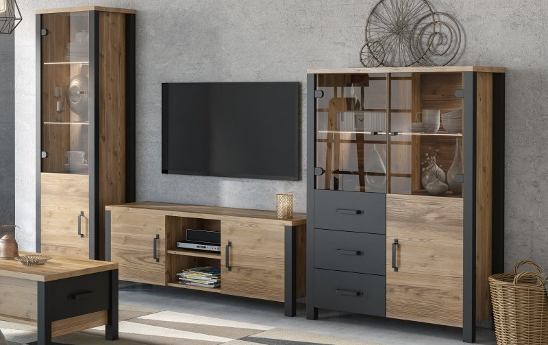 Nábytek do obývacího pokoje OLIN I Appenzellský smrk/černý mat