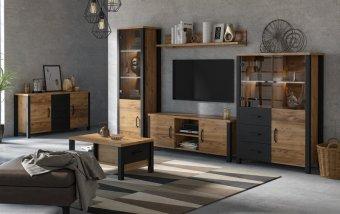 Nábytek do obývacího pokoje OLIN III Appenzellský smrk/černý mat