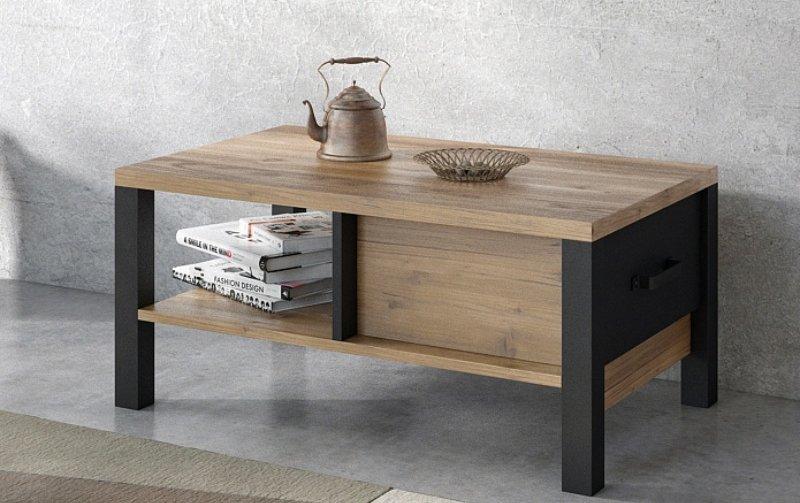 Konferenční stolek OLIN Appenzellský smrk/černý mat