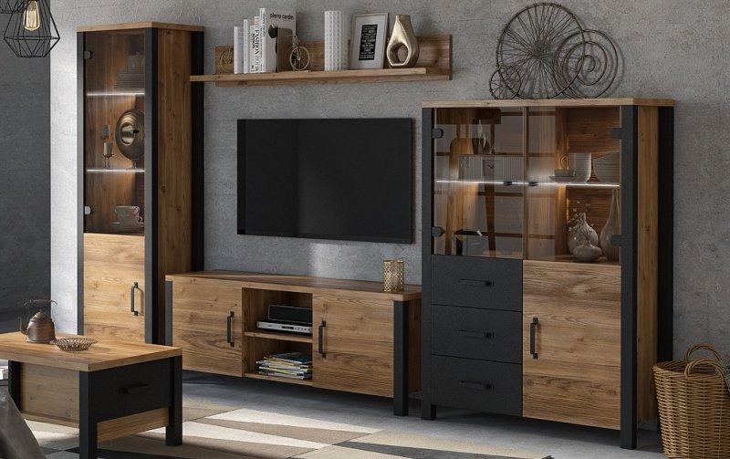 Nábytek do obývacího pokoje OLIN II Appenzellský smrk/černý mat