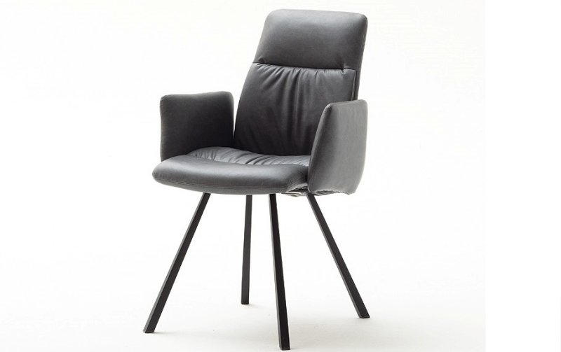 Židle jídelní OXFORD s područkami ekokůže šedá