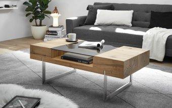 Konferenční stolek REWA dub sukatý/leštěná ocel