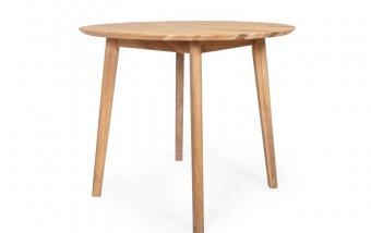 Kulatý dubový jídelní stůl z masivu RIGA dub bělený