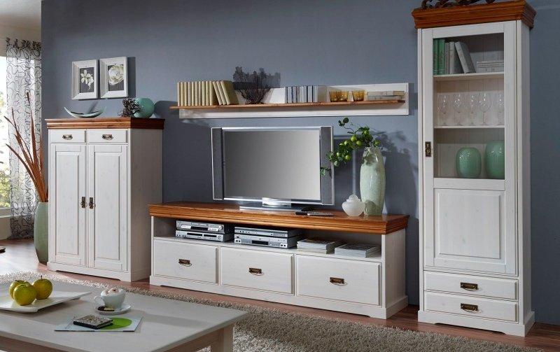 Nábytek do obývacího pokoje z masivu RUDOLF II borovice bílá