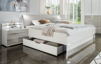 Moderní postel s úložným prostorem SHANGHAI 2 bílá/šedá