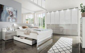 Moderní ložnice SHANGHAI 2 bílá/sklo bílá-šedá