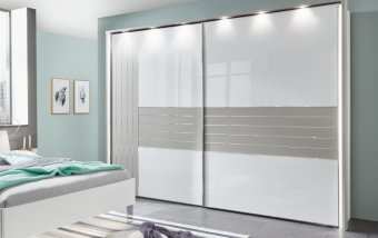 Šatní skříň s posuvnými dveřmi CADIZ bílá/šedá