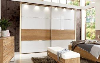 Šatní skříň s posuvnými dveřmi PALERMO dub - částečný masiv
