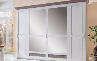 Šatní skříň s posuvnými dveřmi LUGANO (typ 32) bílá borovice/hnědá