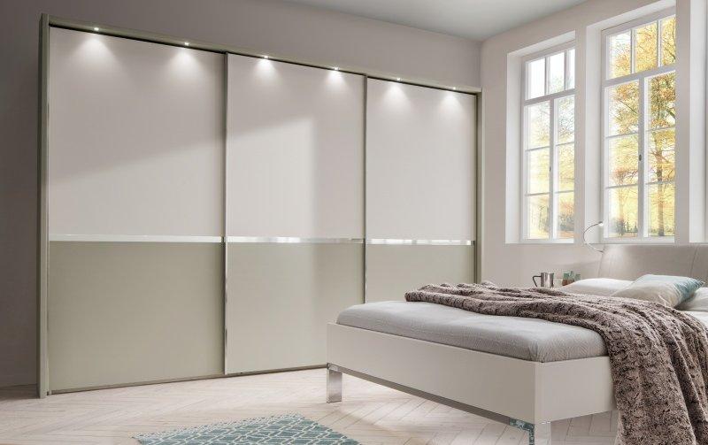 Šatní skříň s posuvnými dveřmi ALASKA bílá/šedá