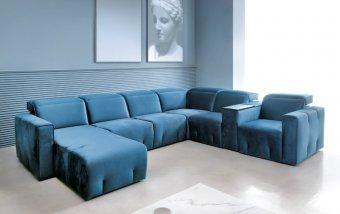 Rohová sedací souprava do tvaru U BRAVO s funkcí relax