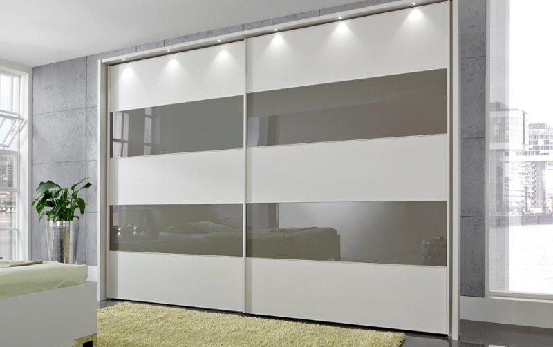 Šatní skříň s posuvnými dveřmi SUNSET bílá/sklo Havana