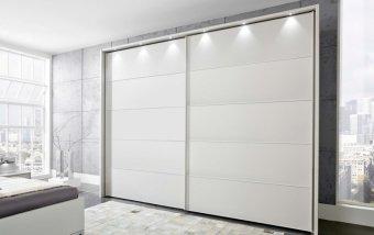 Bílá šatní skříň s posuvnými dveřmi SUNSET