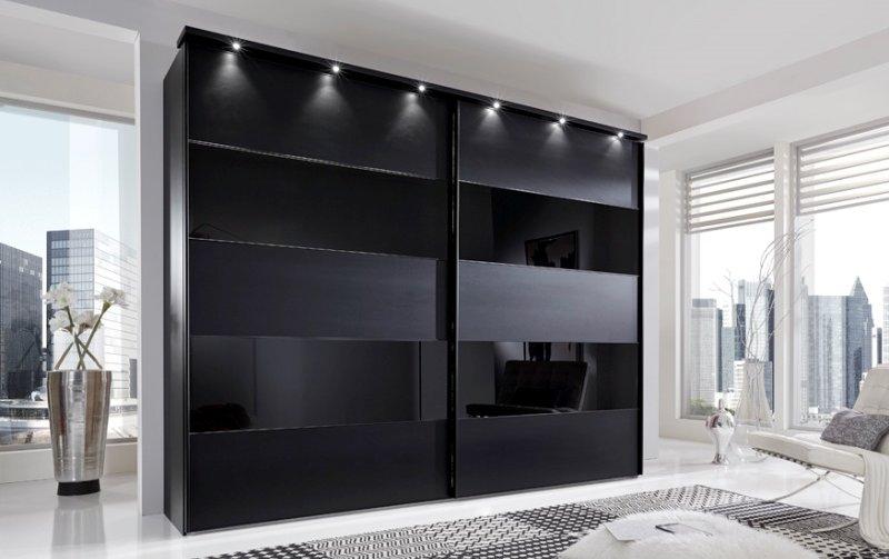 Černá šatní skříň s posuvnými dveřmi SUNSET