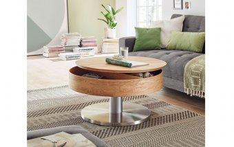 Konferenční stolek SUVA dub sukatý/leštěná ocel