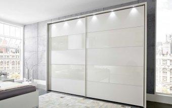 Šatní skříň s posuvnými dveřmi SUNSET bílá/bílé sklo