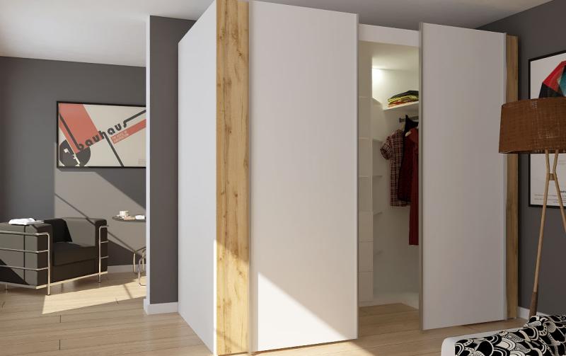 Samostatně stojící šatna s posuvnými dveřmi TEXAS matná bílá/dub wotan