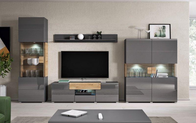 Moderní obývací stěna TOLEDO dub Grandson/šedý lesk