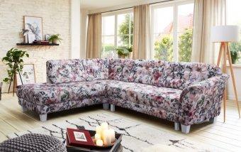Rohová rozkládací sedací souprava ve venkovském stylu TRONDHEIM v květovaném potahu