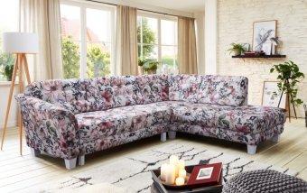 Rohová sedací souprava ve venkovském stylu TRONDHEIM v květovaném potahu