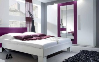 Bílá šatní skříň se zrcadlem Vera bl - bílá lila