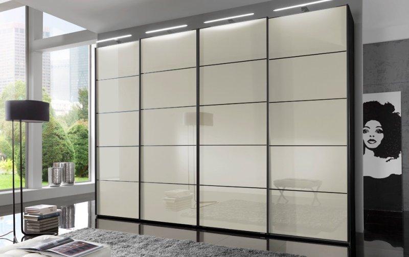 Šatní skříň s posuvnými dveřmi WESTSIDE černá/sklo Magnolie