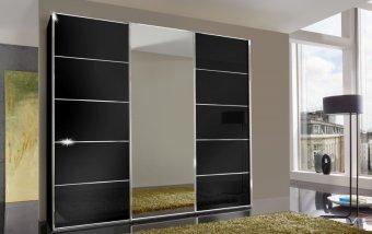 Šatní skříň se skleněnými dveřmi WESTSIDE I černá/chrom
