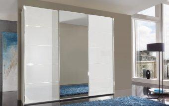 Šatní skříň se skleněnými dveřmi WESTSIDE alpská bílá/chrom