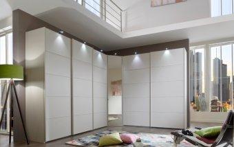 Rohová šatní skříň s posuvnými dveřmi WESTSIDE alpská bílá