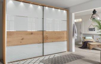 Šatní skříň s posuvnými dveřmi YUKON bílá/dub